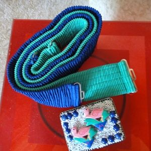 Blue & Jade Stretch Belt Set: Flamingo Buckle! NEW